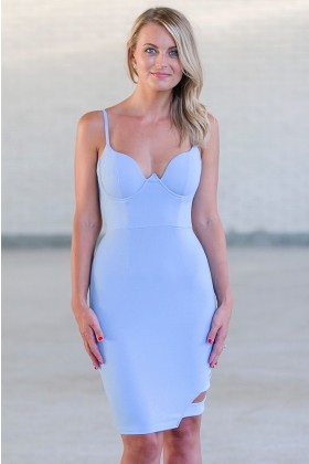 Perwinkle Blue Bodycon Dress, Cute Club Dress, Sky Blue Cocktail Dress Online