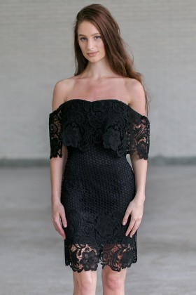 Black crochet lace off shoulder dress, Cute Little Black Dress Online