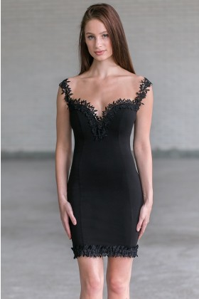 Black Lace Trim Cocktail Dress Online, Cute Juniors Party Dress