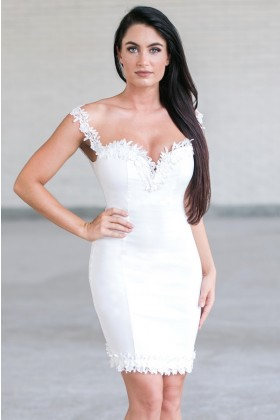 Ivory Lace Trim Cocktail Dress Online, Cute Ivory Party Dress