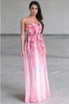 Pink Floral Print Maxi Dress, Watercolor Prom Dress