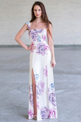 Cute Pink and Cream Maxi Dress Online, Juniors Maxi Dress