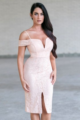 Peach Lace Off Shoulder Dress, Cute Peach Pencil Dress Online