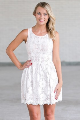 White Lace A-Line Dress, Cute Rehearsal Dinner Dress, Bridal Shower Dress