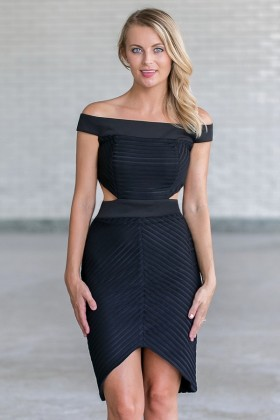 Black Off Shoulder Cocktail Dress, Cute Little Black Dress Online