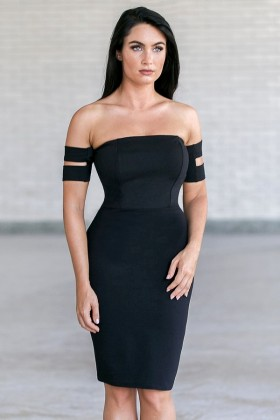 Black Off Shoulder Cocktail Dress, Cute Little Black Dress