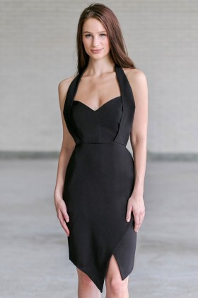 Black Cocktail Halter Dress, Cute Halter Dress Online
