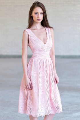 Pink Lace Midi Dress, Cute Pink A-Line Dress