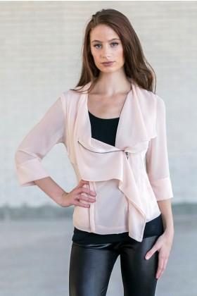 Pale peach jacket, Cute Chiffon summer jacket