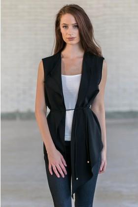 Cute Black Open Vest, Juniors Black Vest