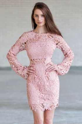 Pink Longsleeve Lace Dress, Cute Pink Boho Dress