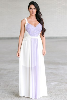 In The Center Lace and Chiffon Dress in Lilac/Cream