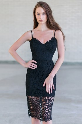 Black Lace Bodycon Dress, Cute Black Cocktail Dress