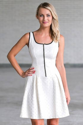 Ivory and Black Zip Front A-Line Dress