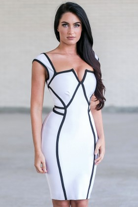 White and black Bodycon Dress, Cute Cocktail Dress Online