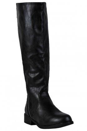 Black Zip Riding Boots, Cute Fall Boots