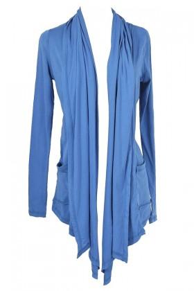 Cozy Up Open Longline Cardigan in Blue