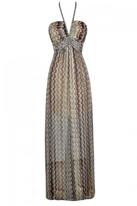 Chevron Maxi Dress, Missoni Style Dress, Brown Chevron Maxi Dress, Wave Pattern Dress, Cute Maxi Dress, Boho Maxi Dress