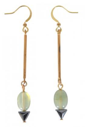 Green Drop Earrings, Cute Earrings, Cute Jewelry, Khaki Drop Earrings, Delicate Earrings, Gold Drop Earrings