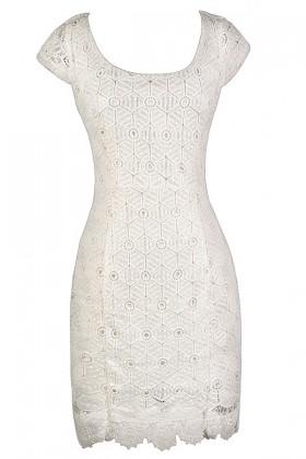 White Lace Dress, White Lace Pencil Dress, Cute Lace Dress, White Lace Summer Dress, White Lace Bridal Shower Dress, White Lace Rehearsal Dinner Dress