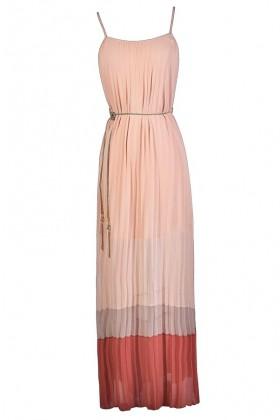 Cute Maxi Dress, Summer Maxi Dress, Colorblock Maxi Dress, Pink and Coral Maxi Dress