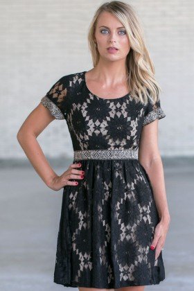 Black Lace A-Line Dress, Cute Little Black Dress, Juniors Online Boutique Dress
