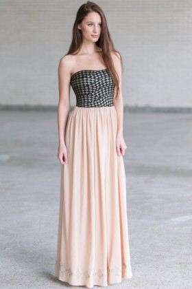 Cute Maxi Dress Online, Black and Beige Maxi Dress, Diamond Maxi Dress