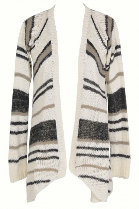 Soft Stripes Cardigan Sweater in Charcoal Stripe