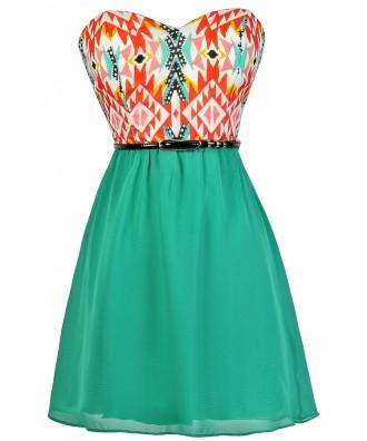 Bright Southwestern Print Dress, Southwestern Print Sundress, Cute Summer Dress, Printed Strapless Dress, Belted Sundress, Printed Belted Dress