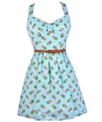 Pineapple Print Dress, Stripe Pineapple Dress, Fruit Print Dress, Cute Summer Dress, Blue Stripe Pineapple Dress, Cute Summer Dress, Retro Pineapple Dress