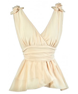 Cute Cream Top, Cute Summer Top, Cream Rosette Top, Cream Party Top, Beige Rosette Top