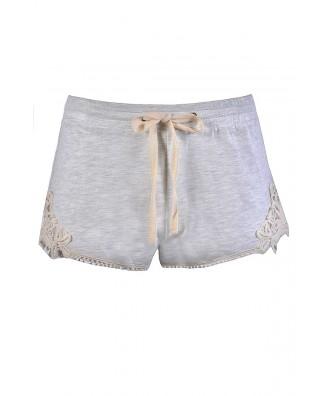 Cute Grey Shorts, Grey Lace Trim Shorts, Cute Casual Shorts, Cute Summer Shorts