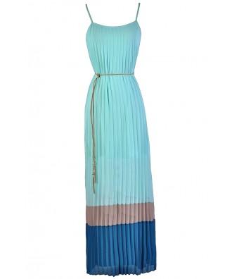 Sky Blue Maxi Dress, Pale Blue Maxi Dress, Summer Maxi Dress, Pleated Maxi Dress, Cute Summer Dress, Colorblock Summer Maxi Dress