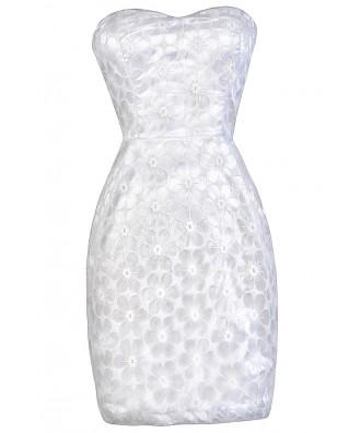 White Strapless Dress, White Bridal Shower Dress, White Rehearsal Dinner Dress, White Summer Dress, Cute Summer Dress