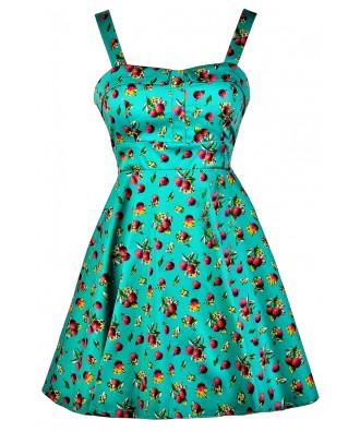 Cranberry Print Dress, Fruit Print Dress, Teal Cranberry A-Line Dress, Cranberry Print Summer Dress, Retro Fruit Print Dress
