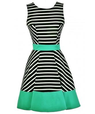Black White and Green Colorblock Stripe Dress, Black and White Stripe A-Line Dress, Jade Green Colorblock Stripe Dress, Nautical Stripe Dress, Black and White Stripe Party Dress