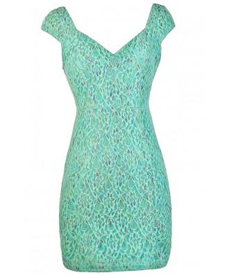 Mint Lace Dress, Mint Lace Capsleeve Dress, Mint Multi Colored Lace Dress, Fitted Lace Dress, Mint Pencil Dress, Cute Mint Dress, Blue Mint Dress