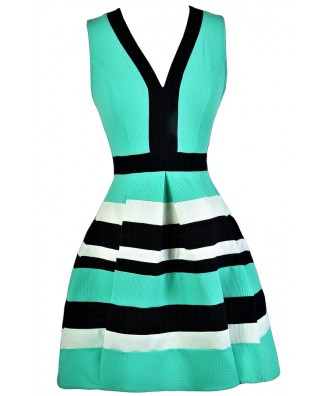 Mint and Navy Nautical Stripe Dress, Navy and Mint A-Line Dress, Navy and Mint Party Dress, Navy and Mint A-Line Dress, Cute Summer Dress, Nautical Stripe Summer Dress
