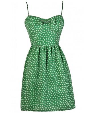 Apple Print Dress, Green Apple Print Sundress, Cute Summer Sundress, Apple Print Summer Dress