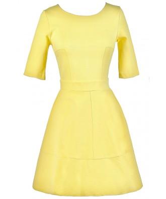 Yellow A-Line Dress, Yellow party Dress, Cute Yellow Dress, Yellow Summer Dress
