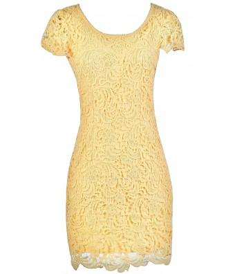 yellow Lace Dress, Yellow Lace Pencil Dress, Yellow Summer Dress, Cute Lace Dress, Cute Party Dress, Yellow Pencil Dress