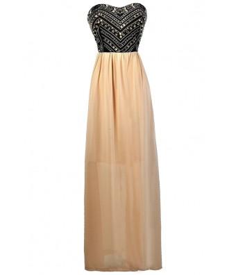 Black and Beige Maxi Dress, Black Beige Embellished Maxi Dress, Cute Maxi Dress, Black and Beige Prom Dress, Black and Beige Embellished Formal Dress