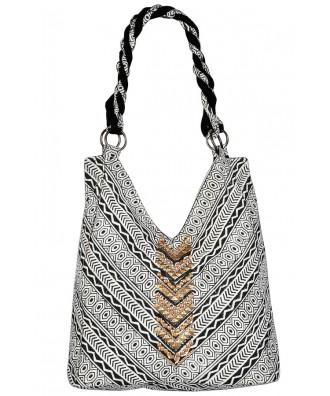Aztec Print Bag, Aztec Pattern Purse, Aztec Tote Bag, Cute Summer Purse, Embellished Tote Bag, Embellished Purse, Blcak and Off White Aztec Bag, Cute Summer Purse