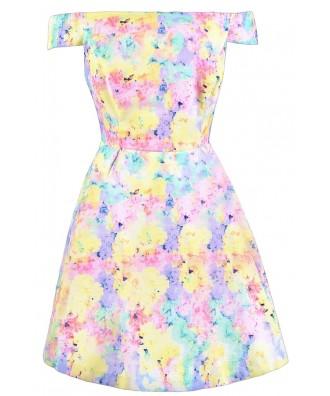 Pastel Printed Dress, Pastel Multicolor Dress, Pastel Off Shoulder Dress, Cute Summer Dress, Pastel Spring Dress, Cute Easter Dress, Cute Off Shoulder Dress