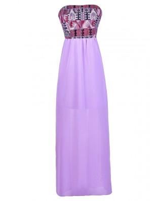 Purple Maxi Dress, Cute Summer Dress, Summer Maxi Dress, Purple Southwestern Print Maxi Dress, Bright Purple Maxi Dress