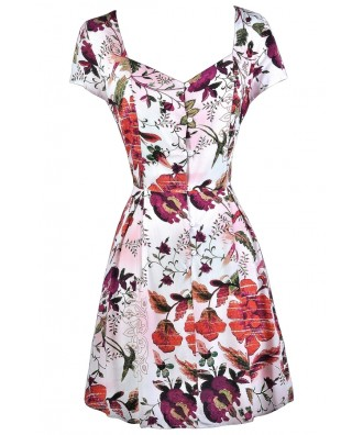 Red and Purple Floral Sundress, Cute Floral Print Sundress, Floral Print Summer Dress, Button Front Sundress, Red and Purple Summer Dress, Fall Floral Print Dress