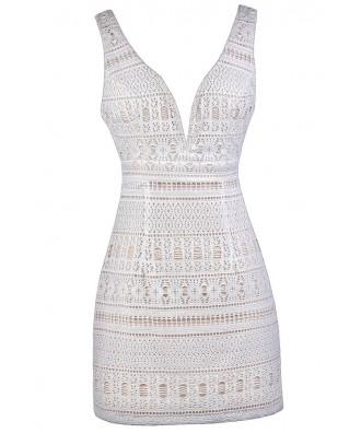 White Party Dress, White Cocktail Dress, Little White Dress, Cute White Dress, White and Beige Dress, White and Beige Lace Dress, White Plunging Neckline Dress, White Rehearsal Dinner Dress, White Bridal Shower Dress