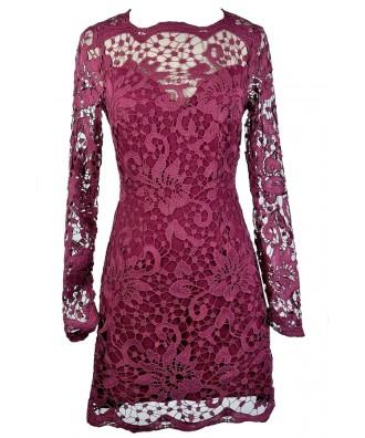 Magenta Lace Dress, Purple Lace Dress, Maroon Lace Dress, Ginger Fizz Dress, Ginger Fizz Lace Dress, Burgundy Lace Dress, Lace Pencil Dress, Longsleeve Lace Dress, Purple Lace Party Dress, Purple Lace Cocktail Dress