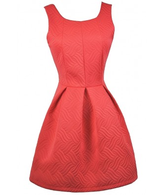 Red A-Line Dress, Red Party Dress, Red Holiday Dress, Cute Red Dress, Red Bow Back Dress, Red Bridesmaid Dress