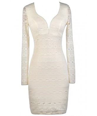 Ivory lace Pencil Dress, Ivory Lace Rehearsal Dinner Dress, Ivory Lace Bridal Shower Dress, Ivory Lace Bodycon Dress, Longsleeve Ivory Lace Dress
